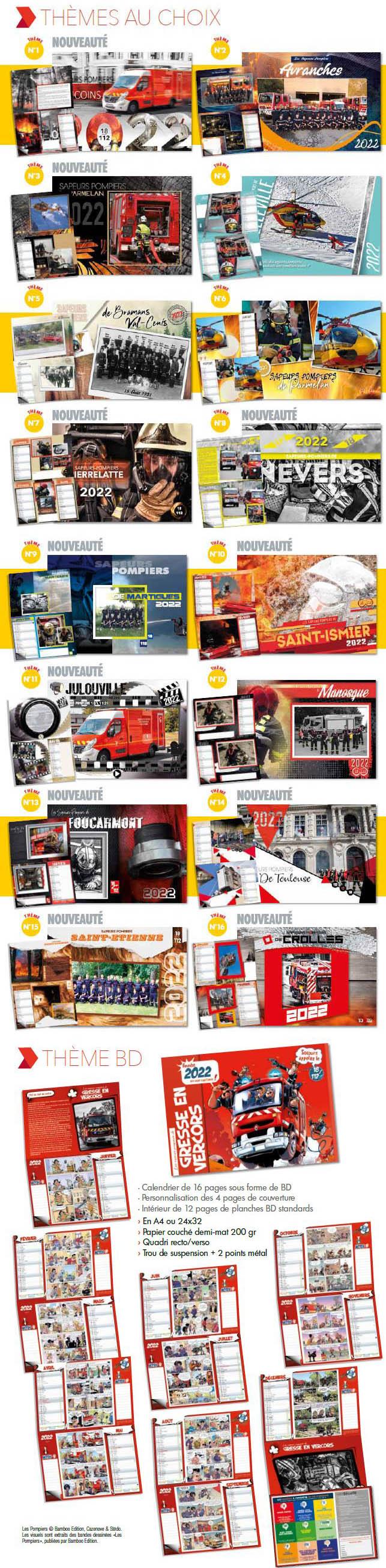 Calendrier Pompier 2022 Les thèmes 2022, sur calendriers pompiers.fr   Vos calendriers de